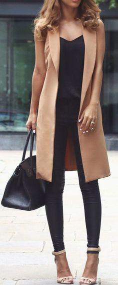 Khaki Plain Pockets Turndown Collar Fashion Long Vest