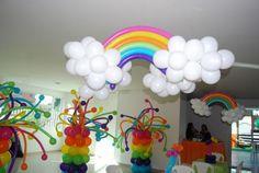 Rainbow and cloud balloons.