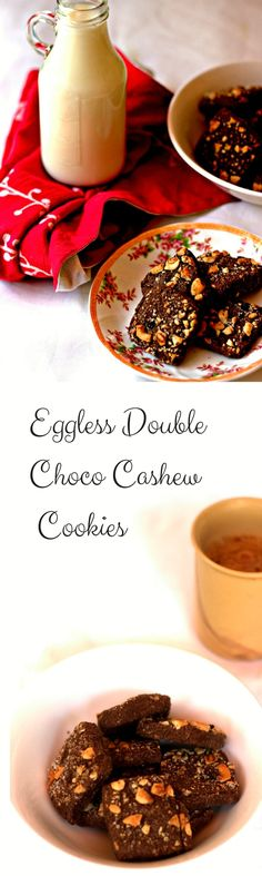 Eggless Chocolate flavoured cookie topped with cashew and chocolate chips.