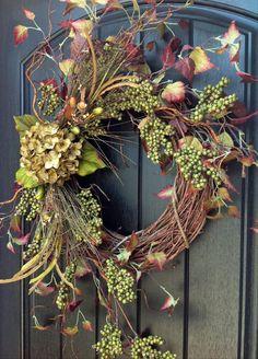 Fall Wreath Berry Twig Grapevine Wreath~❥