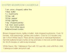OYSTER MUSHROOM CASSEROLE