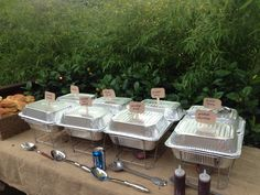 For BBQ outdoor wedding shower, instead of buying expensive chafing dishes for food, buy foil pans and invert one as the lid. Hot glue a Popsicle stick to the top and add a label so you have a handle.