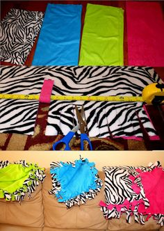 No Sew Fleece Blankets - Very easy to make! And super cute!