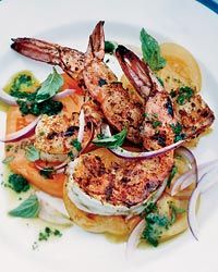 Barbecued Spiced Shrimp with Tomato Salad Recipe on Food & Wine