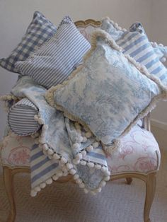 soft blue and white toile & stripe pillows