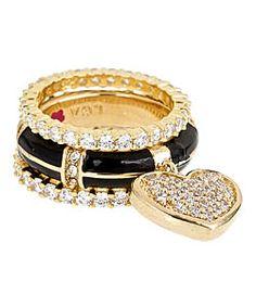 Lauren G. Adams Black Pave Heart Stackable Ring Set...from MaxandChloe