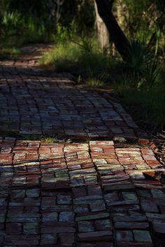 well worn brick walk