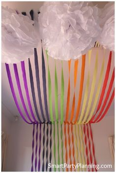 Rainbow backdrop and clouds #Rainbow #Party