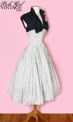 1950's navy and white polka dot bow dress