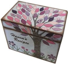 Recipe Box, Decoupaged, Large Handcrafted Box,  Storage, Organization,Purple and Pink Tree Box, MADE To ORDER