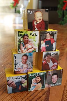 Wood blocks for baby, with pictures of family members mod podged on.... Going to try to do this for abbey SO BRITTNEY I NEED SOME GOOD PICTURES OF EVERYONE! Please help me out! Lol