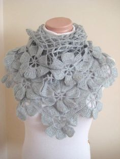 Cowl in COBBLESTONE GREY with Wooden Buttons | Crochet Cowls, Cowls ...