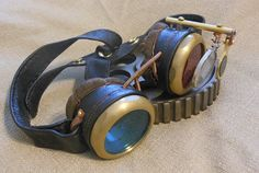 Brass SteamPunk Goggles, Deisel Punk Interchangeable Real Glass Lenses, and Leather Details