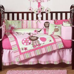Sweet And Feminine Baby Girls Bedding Sets : Cute Pink Color Scheme Lion Pattern Baby Girls Bedding Set Inspiration for White Girls Nursery ...