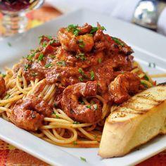 Creamy Cajun Shrimp Spaghetti