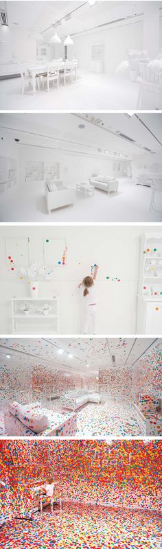What happens when you give thousands of kids thousands of colored dots in an all white room? The Obliteration Room-Interactive Art Exhibit
