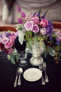 purple wedding flowers - love it!