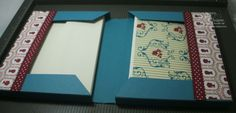 """Awesome tutorial for a book-style holder for stationery and envelopes. All out of a single sheet of 12x12 cardstock, including a 1"""" bellyband."""