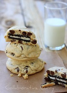 oreo stuffed chocolate chip cookie