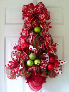 SALE: Red & Green Striped Deco Mesh Christmas Tree Door Decoration with Red And White Swirls and Polka Dots on Etsy, $65.00