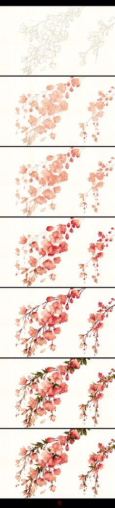 watercolor floral technique <3