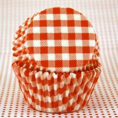 red gingham cupcake liners