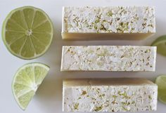 Coconut-Lime Soap Makes about 16 4 ounce bars of soap Base Oils 15 oz. coconut oil (34.09%) 15 oz. olive oil (34.09%) 8 oz. sunflower oil (18.18%) 6 oz. safflower oil (13.64%) Lye Solution 14 oz. coconut milk (for more on soap-making with milk, click here) 6.25 oz. lye Additives 2 oz. coconut-lime fragrance oil Lime zest and chopped dried coconut for exfoliant (optional)
