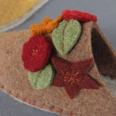 Joe's Toes -  close up of flower detail on our latest slipper - using our new rope soles.