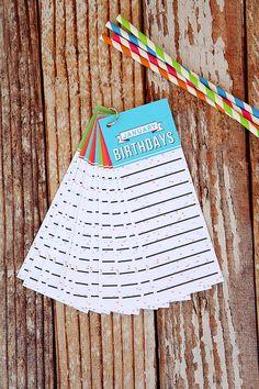 Birthday Tracker Tags - free printable - I'll never forget a birthday again. :)