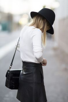 leather A-line skirts + wide brimmed hats