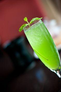 Green Demon 1 oz Rum 1 oz Vodka 1 oz Melon Liqueur Top up with Lemonade