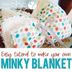 Super easy Minky Blanket tutorial with a cotton print! #minkyblanket #babygift #babyblanket from howdoesshe