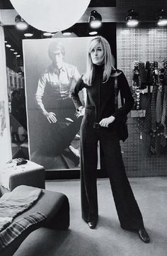 Circa 1969 - Betty Catroux, friend and muse of Yves Saint Laurent at Rive Gauche.