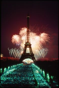 A fireworks display illuminates the Eiffel Tower.This photograph appeared on the cover of the July 1989 issue.Photograph by James…