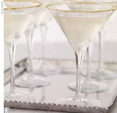 white and gold martini glass