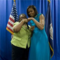 A fist bump from FLOTUS