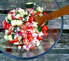 Cucumber Tomato Feta Salad - cherry tomatoes, cucumber, red onion, feta, basil, red wine vinegar, sugar (use Splenda?), olive oil, pepper and salt