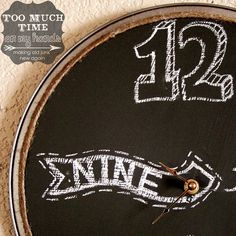 Vote! Pizza Pan Chalkboard Clock-Recycle, Reuse, Upcycle