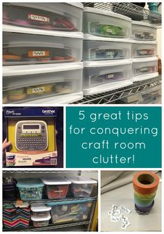 5  Great Tips for Conquering Craft Room Clutter! - Organizing Advice and Creative Labeling Ideas by @modpodgerocks  #Brother #LabelIt
