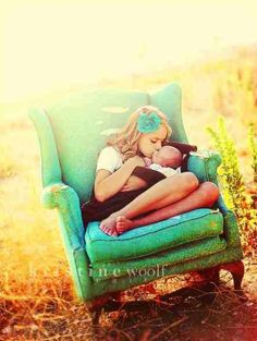 Newborn with older sibling love the chair the setting and the pic!!!