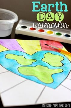 Earth Day Student Watercolor Painting Tutorial - Kinder-Craze