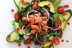 Easy Smoked Salmon Salad is easy to adapt for Phase 2: Omit avocado and oil, swap red bell pepper for tomato, and use 4 oz. nitrate-free turkey bacon to serve 2.
