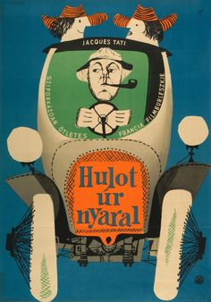 Hungarian poster for Les vacances de Monsieur Hulot (1953)- MONSIEUR HULOT'S HOLIDAY (Jacques Tati)