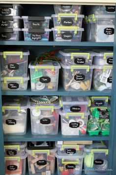 CraftRoomOrganizing thumb 8 Tips for Organizing Craft Supplies: keep everything in clear containers for easy access.