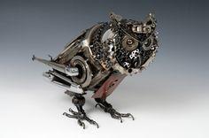 Steampunk Owl by James Corbett, the Car Part Sculptor