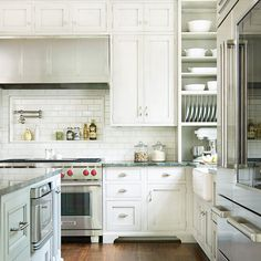 Traditional Kitchens Exposed Brick Bricks And White Cabinets