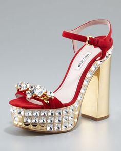 Jeweled Suede Platform Sandals by Miu Miu at Neiman Marcus.