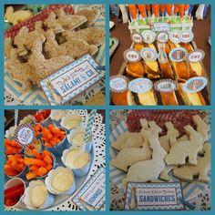 """MR MC GREGOR-S PARTY FOOD: Peter Rabbit Chevron Blue / Birthday """"Luca's Peter Rabbit 1st Birthday"""" by www.PerfectPackages.blog.com"""