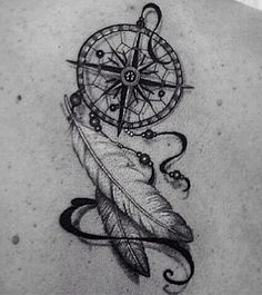 Dreamcatcher compass feather tattoo <3