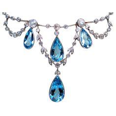 Edwardian Aquamarine Negligee Necklace